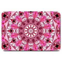 Twirling Pink, Abstract Candy Lace Jewels Mandala  Large Door Mat