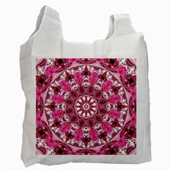 Twirling Pink, Abstract Candy Lace Jewels Mandala  White Reusable Bag (one Side) by DianeClancy