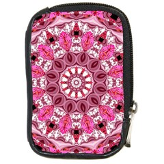 Twirling Pink, Abstract Candy Lace Jewels Mandala  Compact Camera Leather Case