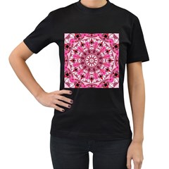 Twirling Pink, Abstract Candy Lace Jewels Mandala  Women s T Shirt (black)