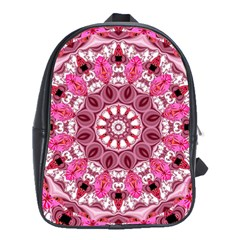 Twirling Pink, Abstract Candy Lace Jewels Mandala  School Bag (large)