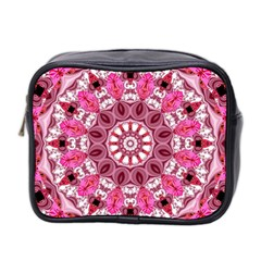 Twirling Pink, Abstract Candy Lace Jewels Mandala  Mini Travel Toiletry Bag (two Sides)