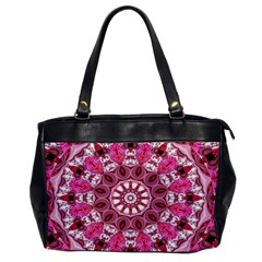 Twirling Pink, Abstract Candy Lace Jewels Mandala  Oversize Office Handbag (one Side)