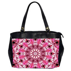 Twirling Pink, Abstract Candy Lace Jewels Mandala  Oversize Office Handbag (two Sides)