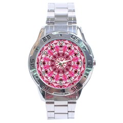 Twirling Pink, Abstract Candy Lace Jewels Mandala  Stainless Steel Watch by DianeClancy
