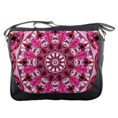 Twirling Pink, Abstract Candy Lace Jewels Mandala  Messenger Bag by DianeClancy