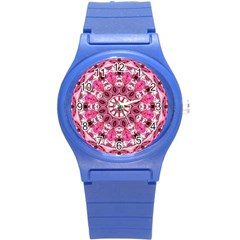 Twirling Pink, Abstract Candy Lace Jewels Mandala  Plastic Sport Watch (small) by DianeClancy