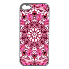 Twirling Pink, Abstract Candy Lace Jewels Mandala  Apple Iphone 5 Case (silver) by DianeClancy