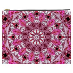 Twirling Pink, Abstract Candy Lace Jewels Mandala  Cosmetic Bag (xxxl)