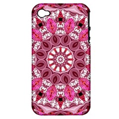 Twirling Pink, Abstract Candy Lace Jewels Mandala  Apple Iphone 4/4s Hardshell Case (pc+silicone)