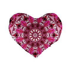 Twirling Pink, Abstract Candy Lace Jewels Mandala  16  Premium Heart Shape Cushion