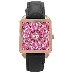 Twirling Pink, Abstract Candy Lace Jewels Mandala  Rose Gold Leather Watch  by DianeClancy