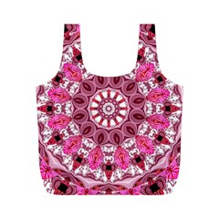 Twirling Pink, Abstract Candy Lace Jewels Mandala  Reusable Bag (m)