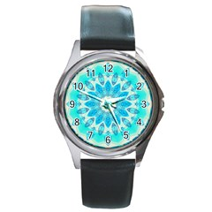 Blue Ice Goddess, Abstract Crystals Of Love Round Leather Watch (silver Rim) by DianeClancy