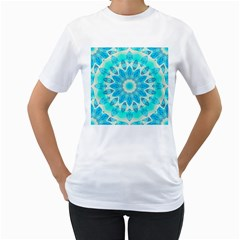 Blue Ice Goddess, Abstract Crystals Of Love Women s Two Sided T Shirt (white)