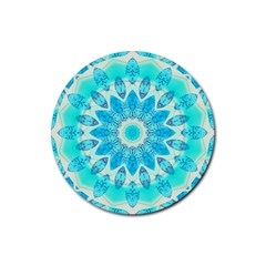 Blue Ice Goddess, Abstract Crystals Of Love Drink Coaster (round)