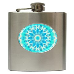 Blue Ice Goddess, Abstract Crystals Of Love Hip Flask by DianeClancy