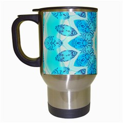Blue Ice Goddess, Abstract Crystals Of Love Travel Mug (white) by DianeClancy