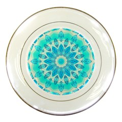 Blue Ice Goddess, Abstract Crystals Of Love Porcelain Display Plate by DianeClancy