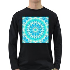Blue Ice Goddess, Abstract Crystals Of Love Men s Long Sleeve T Shirt (dark Colored)