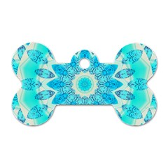 Blue Ice Goddess, Abstract Crystals Of Love Dog Tag Bone (two Sided)