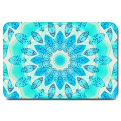 Blue Ice Goddess, Abstract Crystals Of Love Large Door Mat by DianeClancy