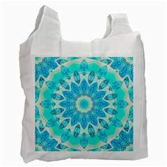 Blue Ice Goddess, Abstract Crystals Of Love White Reusable Bag (two Sides)