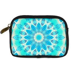 Blue Ice Goddess, Abstract Crystals Of Love Digital Camera Leather Case