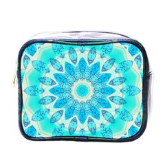 Blue Ice Goddess, Abstract Crystals Of Love Mini Travel Toiletry Bag (one Side) by DianeClancy