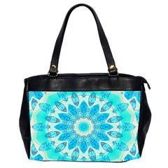 Blue Ice Goddess, Abstract Crystals Of Love Oversize Office Handbag (two Sides) by DianeClancy
