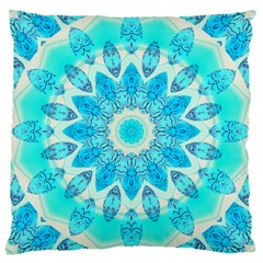 Blue Ice Goddess, Abstract Crystals Of Love Large Cushion Case (two Sided)  by DianeClancy