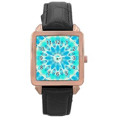 Blue Ice Goddess, Abstract Crystals Of Love Rose Gold Leather Watch  by DianeClancy