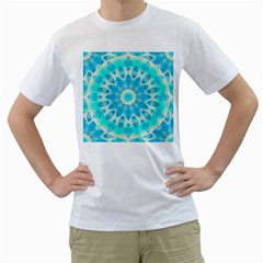 Blue Ice Goddess, Abstract Crystals Of Love Men s T Shirt (white)