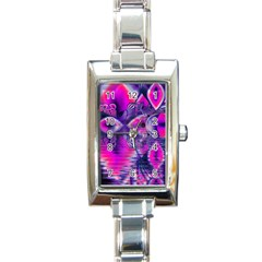 Rose Crystal Palace, Abstract Love Dream  Rectangular Italian Charm Watch by DianeClancy