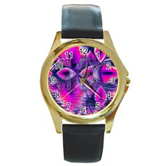 Rose Crystal Palace, Abstract Love Dream  Round Leather Watch (gold Rim)  by DianeClancy
