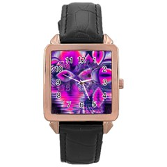 Rose Crystal Palace, Abstract Love Dream  Rose Gold Leather Watch  by DianeClancy