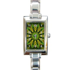 Woven Jungle Leaves Mandala Rectangular Italian Charm Watch by Zandiepants