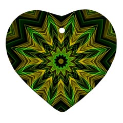 Woven Jungle Leaves Mandala Heart Ornament by Zandiepants
