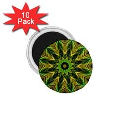 Woven Jungle Leaves Mandala 1.75  Button Magnet (10 pack) by Zandiepants
