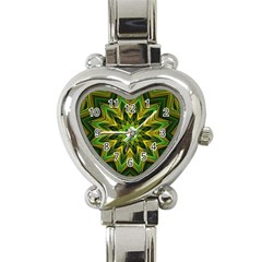 Woven Jungle Leaves Mandala Heart Italian Charm Watch  by Zandiepants