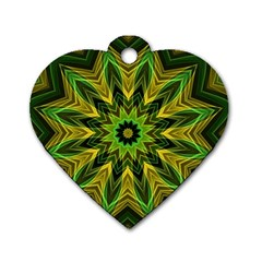 Woven Jungle Leaves Mandala Dog Tag Heart (one Sided)  by Zandiepants