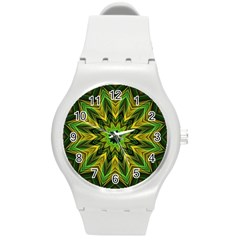 Woven Jungle Leaves Mandala Plastic Sport Watch (medium) by Zandiepants