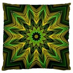Woven Jungle Leaves Mandala Large Cushion Case (two Sided)  by Zandiepants