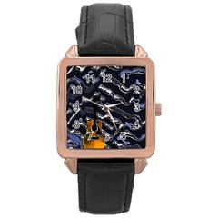 Sound Waves Rose Gold Leather Watch  by Rbrendes