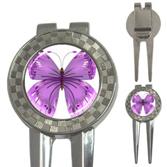 Purple Awareness Butterfly Golf Pitchfork & Ball Marker by FunWithFibro