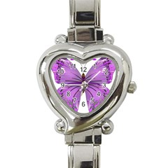 Purple Awareness Butterfly Heart Italian Charm Watch  by FunWithFibro