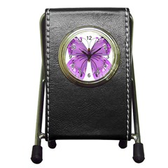 Purple Awareness Butterfly Stationery Holder Clock by FunWithFibro