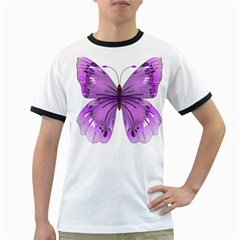 Purple Awareness Butterfly Men s Ringer T Shirt