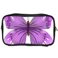 Purple Awareness Butterfly Travel Toiletry Bag (two Sides) by FunWithFibro