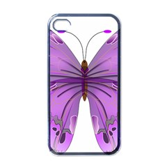 Purple Awareness Butterfly Apple Iphone 4 Case (black) by FunWithFibro